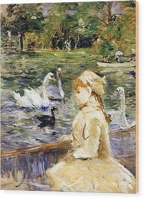 Young Girl Boating Wood Print by Berthe Morisot