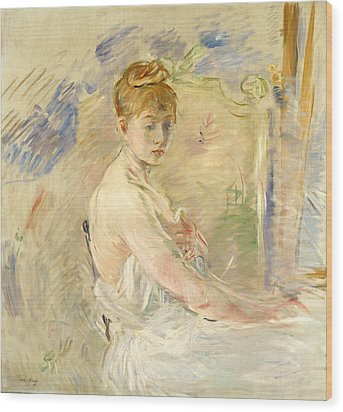 Young Girl Getting Up Wood Print by Berthe Morisot