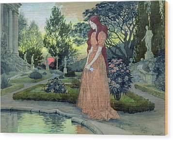 Young Girl In A Garden  Wood Print by Eugene Grasset