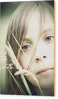 Young Girl In Field Of Grasses Wood Print