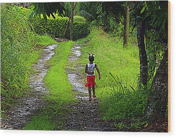 Wood Print featuring the photograph Young Girl- St Lucia by Chester Williams