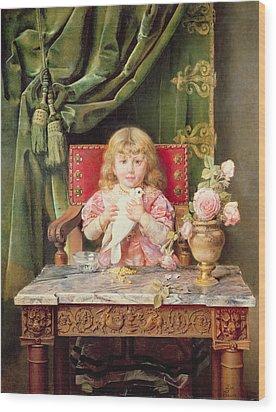 Young Girl With A Dove   Wood Print by Ignacio Leon y Escosura