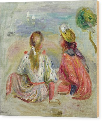 Young Girls On The Beach Wood Print by Pierre Auguste Renoir