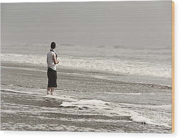 Young Man And The Pacific Ocean Wood Print by Yurix Sardinelly