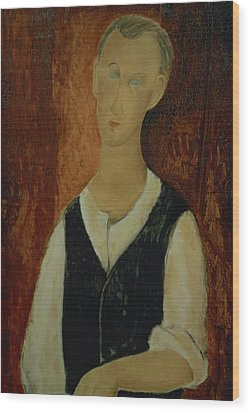Young Man With A Black Waistcoat Wood Print by Amedeo Modigliani