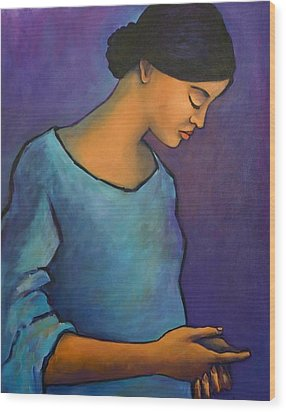 Young Mexican Girl In Blue Wood Print