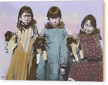 Wood Print featuring the mixed media Young Native American Eskimo by Charles Shoup