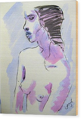 Wood Print featuring the painting Young Nude Female Girl Sitting In Contemplation Introspective Or Watercolor On Textured Paper by M Zimmerman