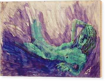 Young Statue Of Liberty Falling From Grace Female Figure Portrait Painting In Green Purple Blue Wood Print by MendyZ M Zimmerman