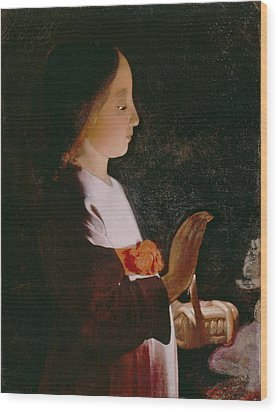 Young Virgin Mary Wood Print by Georges de la Tour