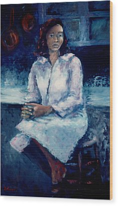 Young Woman Wood Print by Bettye  Harwell