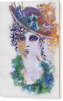 Young Woman Face With Curls In Blue Green Dress Purple Hat With Flower  Wood Print by Rachel Hershkovitz