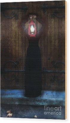 Young Woman In Black Lantern In Front Of Her Face Wood Print by Jill Battaglia