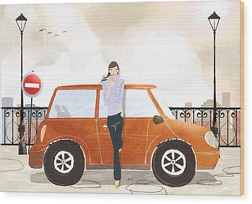 Young Woman Standing In Front Of Car Drinking Takeaway Coffee Wood Print by Eastnine Inc.