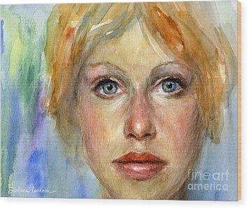 Young Woman Watercolor Portrait Painting Wood Print by Svetlana Novikova