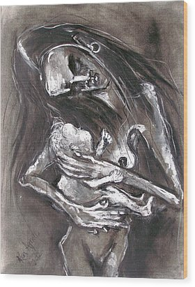 Young Woman With Infant Wood Print by Kenneth Agnello