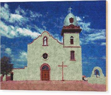 Ysleta Mission Texas Wood Print by Kurt Van Wagner