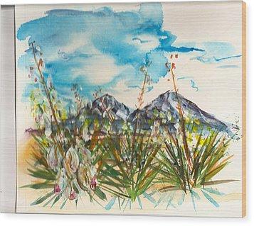 Yucca And Huajatolla Peaks Wood Print