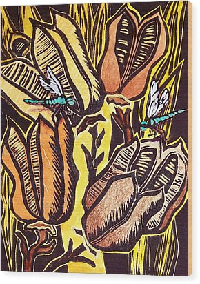 Yucca Pods Wood Print by Candy Mayer