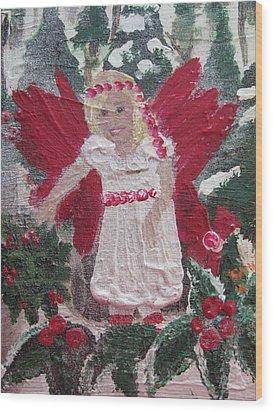 Yule Fairy Wood Print