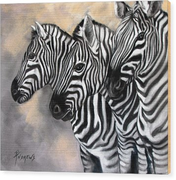 Zebra Crossing Wood Print by Rae Andrews