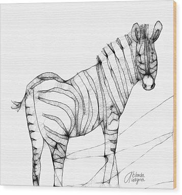 Zebra Doodle Wood Print by Arline Wagner