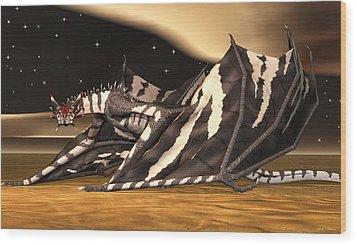 Wood Print featuring the digital art Zebra Dragon by Walter Colvin