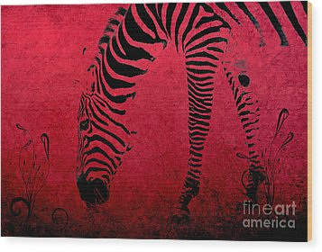 Zebra On Red Wood Print by Aimelle