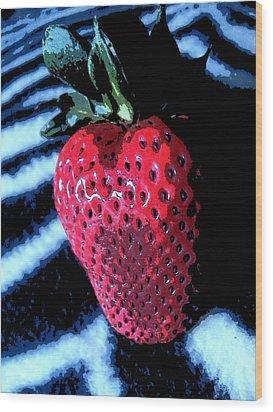 Zebra Strawberry Wood Print by Kym Backland