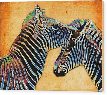 Zebra Tales Wood Print by Barbara  White