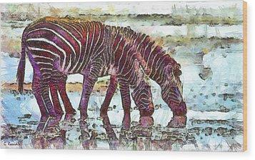 Zebras Wood Print by George Rossidis