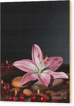 Zen Atmosphere At Spa Salon Wood Print by Anna Om
