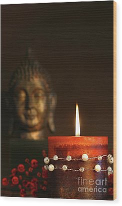 Zen Candle And Buddha Statue Wood Print by Sandra Cunningham
