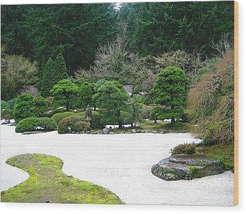 Zen Garden Wood Print by Melissa Stinson-Borg