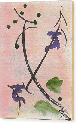 Wood Print featuring the painting Zen Study 01 by Paula Ayers
