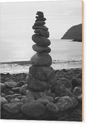 Zen Tower Wood Print by Ramona Johnston