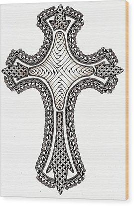 Zentangle Cross Wood Print by Michelle Kidwell