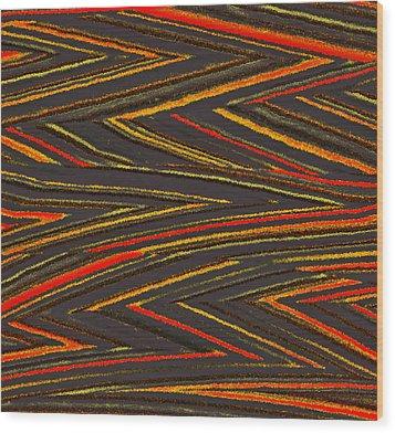 Zig Zag Collection Grey Vs Orange Wood Print by James Mancini Heath