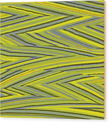 Zig Zag Collection Grey Vs Yellow Wood Print by James Mancini Heath
