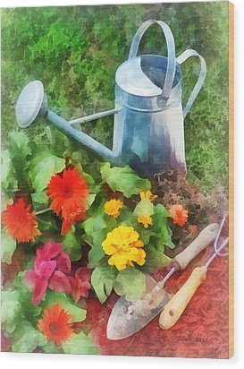 Zinnias And Watering Can Wood Print by Susan Savad