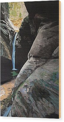 Zion Canyon Falls Wood Print by Robert Keller