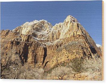 Zion Cliffs Wood Print by Bob and Nancy Kendrick