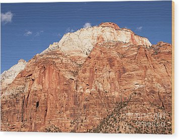 Zion Red Rock Wood Print by Bob and Nancy Kendrick