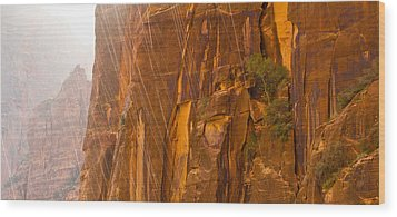 Zion Storm Wood Print by Adam Pender