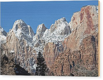 Zion Towers Wood Print by Bob and Nancy Kendrick
