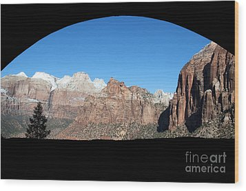 Zion Tunnel View Wood Print by Bob and Nancy Kendrick