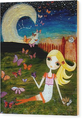 Wood Print featuring the painting Zodiac Virgo by Laura Bell