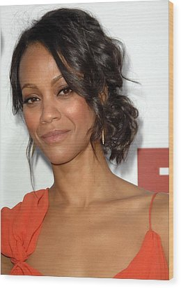 Zoe Saldana At Arrivals For Death At A Wood Print by Everett