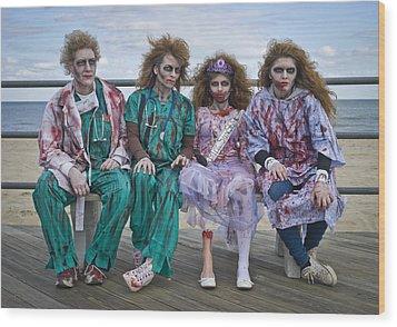 Zombie Medical Family Wood Print by Andrew Kazmierski