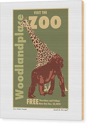 Zoo Poster Wood Print by Kenneth De Tore